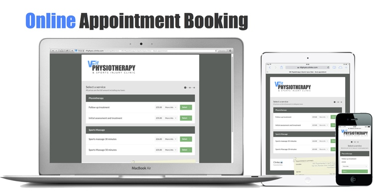 Online booking is available at vfit physio in Mansfield
